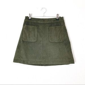Abercrombie faux suede green mini skirt 00